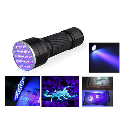 UV Ultra Violet 21 LED Flashlight Mini Blacklight Aluminum Torch Light Lamp、N gh