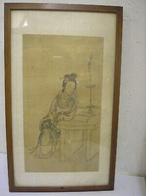 Antique Japanese Pencil On  Silk Or Cloth Drawing