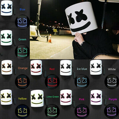 Cosplay DJ-MarshMello LED Mask Full Head Helmet Halloween Easter Bar Music Prop