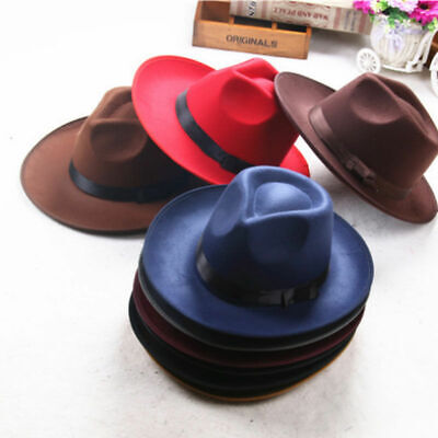 Vintage Men Women Hard Felt Hat Wide Brim Fedora Trilby Gangster Panama Hat Y5T4