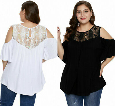 Blouse Top Cold Shoulder Ladies Black White Plus Size Crochet Yoke Size 18/34