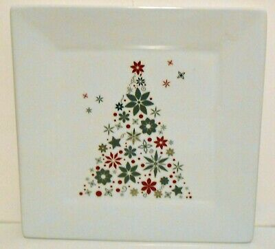 Food Network Linzer Christmas Tree Square Dinner Plate White Porcelain