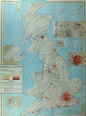 VINTAGE LARGE MAP of BRITAIN PROFESSIONAL OCCUPATIONS MALE LONDON BIRMINGHAM