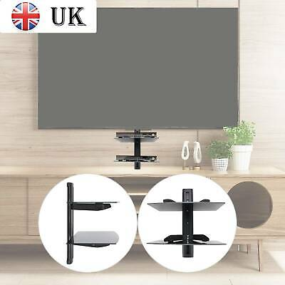 2 Wall Mount Shelf Floating Blacks Glass Bracket For Xbox PS4 Sky TV DVD Shelves