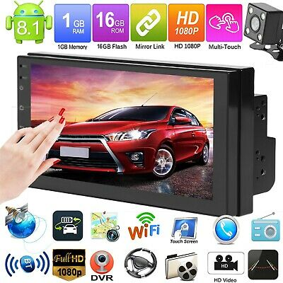 """7"""" Touch Screen Android 8.1 Car Stereo MP5 Player GPS Navi WiFi USB FM AM w/Cam#"""