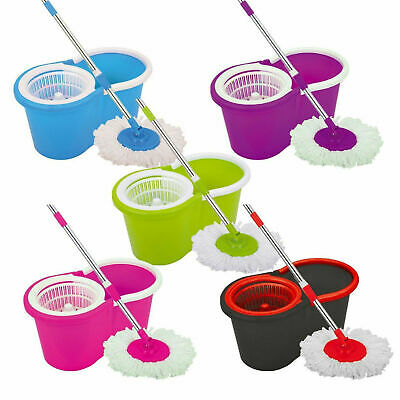 360° Floor Magic Spin Mop Bucket Microfiber Rotating Dry Heads With 2 Heads Lot