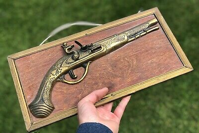 Antique Brass Framed Rifle Long Barrelled Gun Firearm Shooting Hunting Ornament