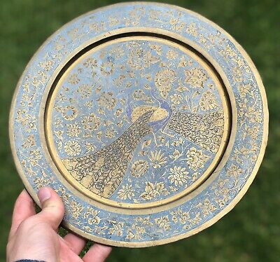 Antique Brass Hand Painted Blue Cloisonné Style Peacock Bird Flower Design Plate