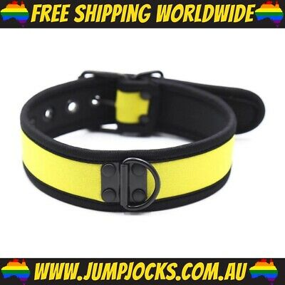 Yellow Rubber Puppy Collar - Fetish, Bondage, Gay *FREE SHIPPING WORLDWIDE*