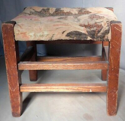 Antique Arts Crafts Homemade Mission Oak Footstool TALL Mortised Untouched Wood