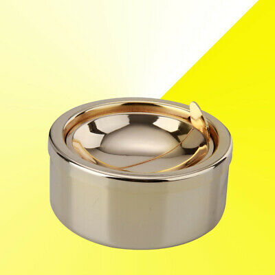 New Stainless Steel Windproof Round Shape Smokeless Ashtray Rotation With Lid
