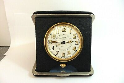1930s GOLDSMITHS LONDON 8-DAY TANDEM WIND ALARM TRAVEL CLOCK EXCELLENT CONDITION