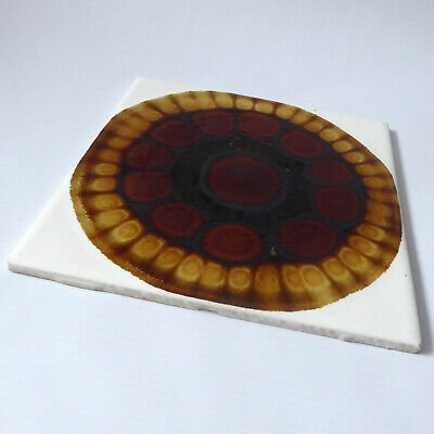 "Alan Wallwork vintage 1960s tile, Pilkington, stamped. 6"" x 6"" brown/amber glaze"