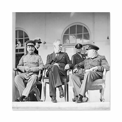 VINTAGE PHOTOGRAPHY WAR WWII TEHRAN STALIN ROOSEVELT CHURCHILL POSTER CC7036