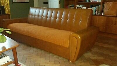 Sofa Bed Day Bed Mid-Century Danish Modern Studio Couch Vintage Retro Storage