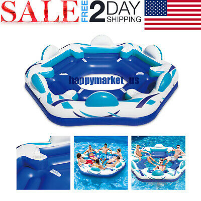 Inflatable Oasis Island 6-Person Pool Lake Floating Sea Fun Water Party Rafting