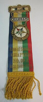 Antique NYC Fraternal Medallion Ribbon Rose of Sharon No 99 New York City