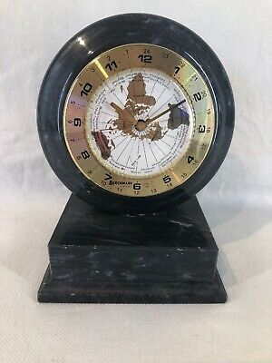 Marble Benchmark World Clock Quartz Desk Mantle Clock (ref Y812)