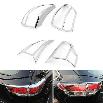 ABS Chrome Rear Tail Light Lamp Cover Trim 4pcs For Toyota Highlander 2015 New B