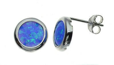 Round Blue Opal Studs | Sterling Silver | Rhodium Plated | Created Opal