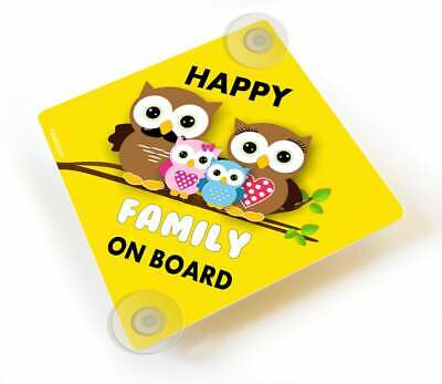 Customized Happy Family On Board Yellow Car Sign Suction Cups