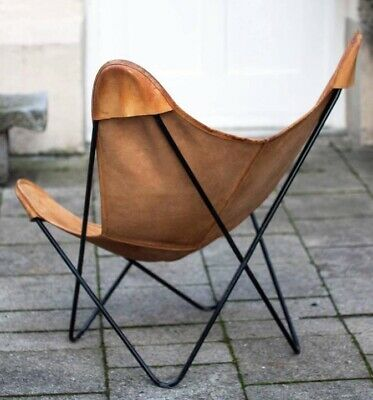 Fauteuil Butterfly Chair Cuir Naturel Hand Made Original Nude Leather