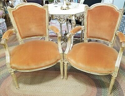Pair Antique Petite Neoclassical French Arm Chairs