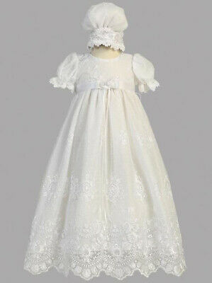 Baby Girls White Christening Baptism Dress Gown 0-3 M Embroidered Tulle Bonnet