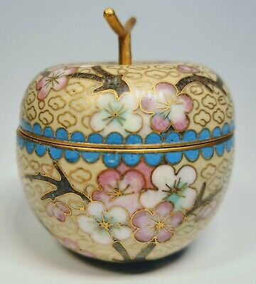 """Antique 1920s Chinese Cloisonné Enamel on Bronze Trinket Box Approx 2.5"""" Tall"""