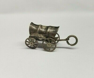 Vintage Sterling Silver Mexico Western Cowboy Movable Wheels Wagon Charm