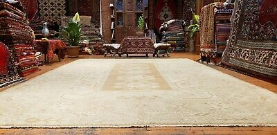 Antique 1930-1940's Muted Natural Dye Wool Pile Palatial Oushak Area Rug 9x12ft
