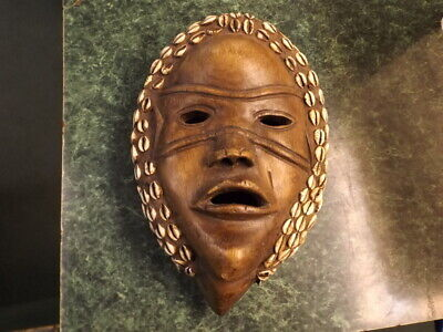 Vintage African Tribal Mask with Cowrie Shells