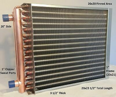 "20x20 Water to Air Heat Exchanger~~1"" Copper Ports w/ EZ Install Front Flange"