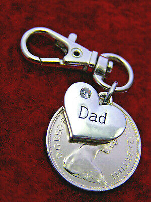 Dad 50th Birthday gift 1970 large shiny five pence coin age 50 keyring keepsake