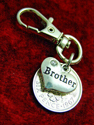 Brother Birthday gift 1920-1967 lucky sixpence coin keyring 70th 65th 60th etc