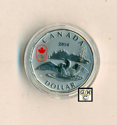 2014 Olympic Lucky Loonie $1 Silver Coin .9999 Fine (13829) (OOAK)