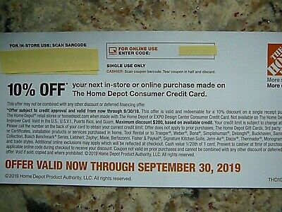 Home Depot 10% Coupon - Online/In Store - Exp 09/30/2019