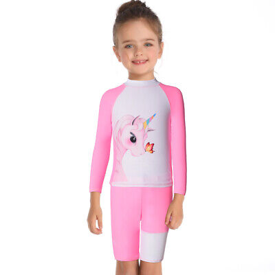4-12Y Kids Girls Unicorn Long Sleeve Swimsuit Two Piece Swimwear Bath Swimming