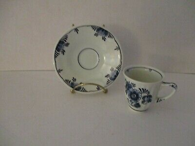 Vintage Delft Blauw Windmill Holland Hand Painted Cup Saucer Blue Flowers 2269