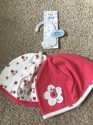 BNWT F&F 2 Pack Hats. Girls. Age 6 - 9 Months. Red/ Cream/ Flower