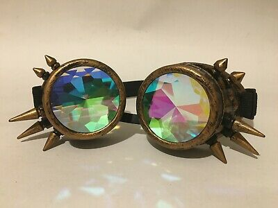 Steam punk studded glasses with kaleidoscope lens and elasticated head band