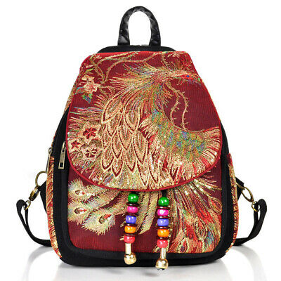 Women Embroidery Backpack Vintage Style Lady Rucksack Large Capacity Book Bag