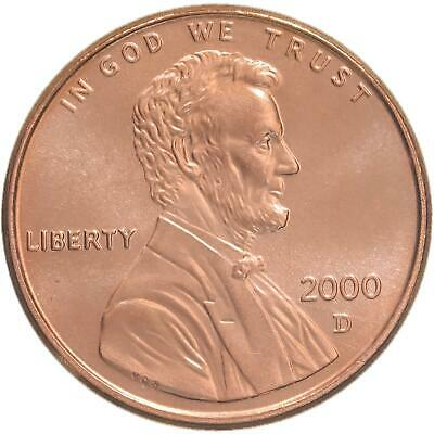 2000 D Lincoln Memorial Cent Gem BU Penny US Coin