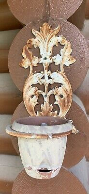 2 Metal Wrought Iron Wall Sconce Plant Holder Mid Century A Pair Vintage