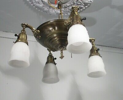 Antique Vintage Chandelier Brass 4 Light Pan with Opaque White Glass Shades