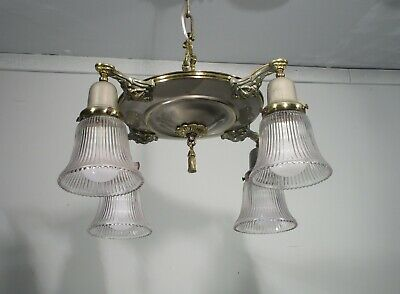 Antique Vintage Chandelier Brass/ Silver  Chrome 4 Light Pan with Glass Shades