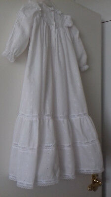 Beautiful Vintage Broderie anglaise Baby Christening White Dress with petticoat
