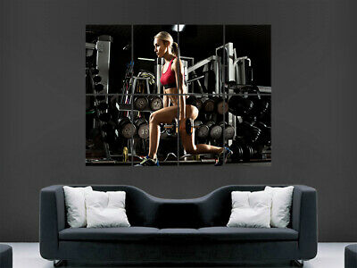 Sexy Girl Fitness Poster Gym Workout Weights Weightlifting Yoga Print Large Huge