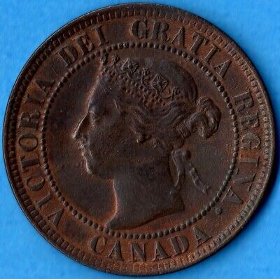 Canada 1901 1 Cent One Large Cent Coin - EF (cleaned)