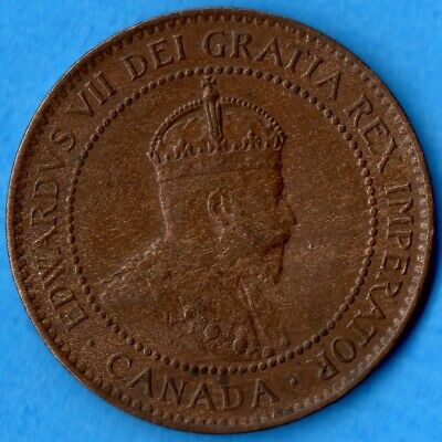 Canada 1907 1 Cent One Large Cent Coin - VF/EF